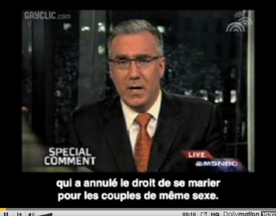 Californie : Keith Olbermann pour le mariage gay
