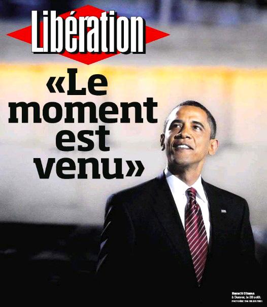 Elections US 2008 : Obama - La Une de Libération - 4 novembre 2008