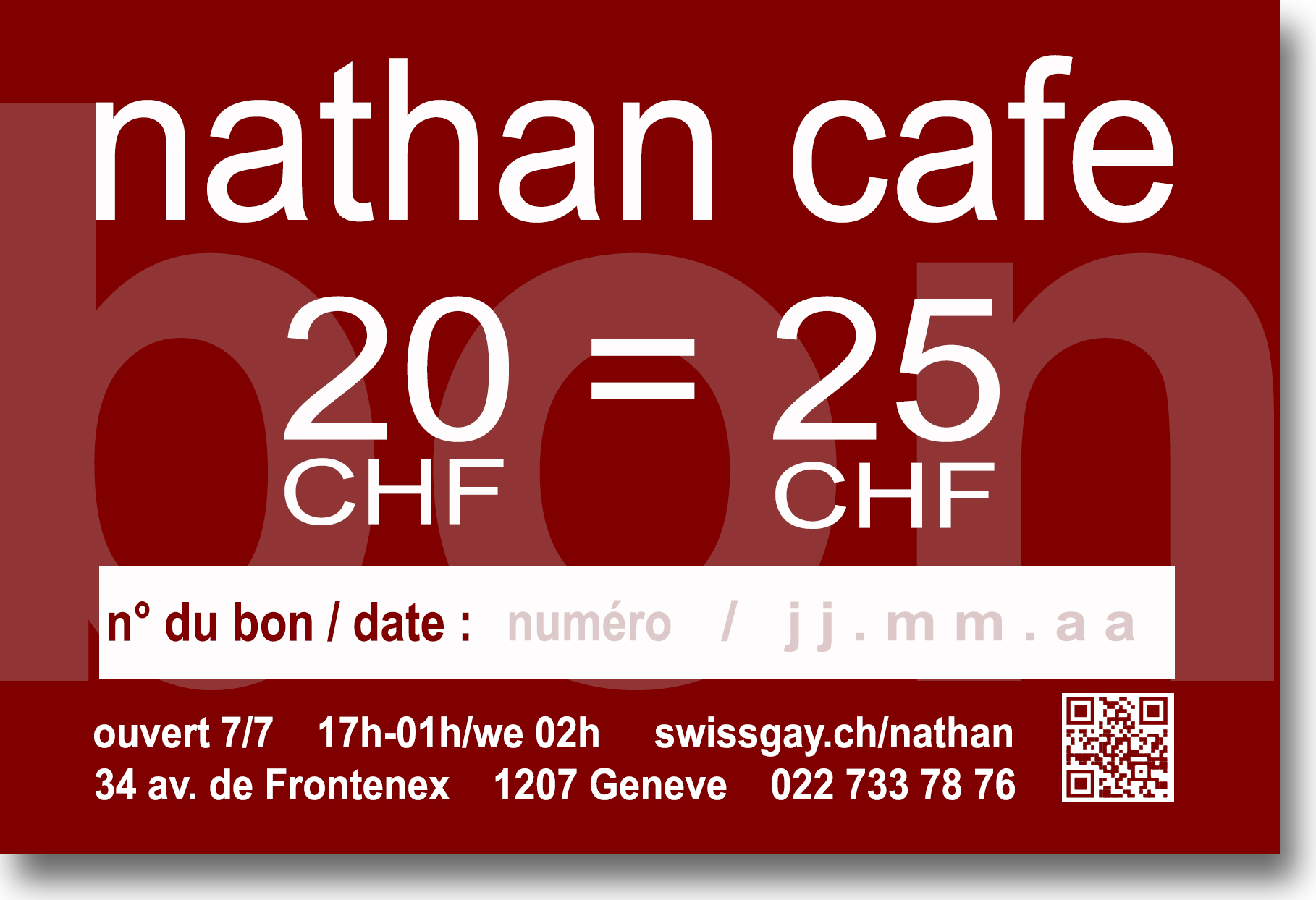 Nathan Café Genève - Bons de soutien