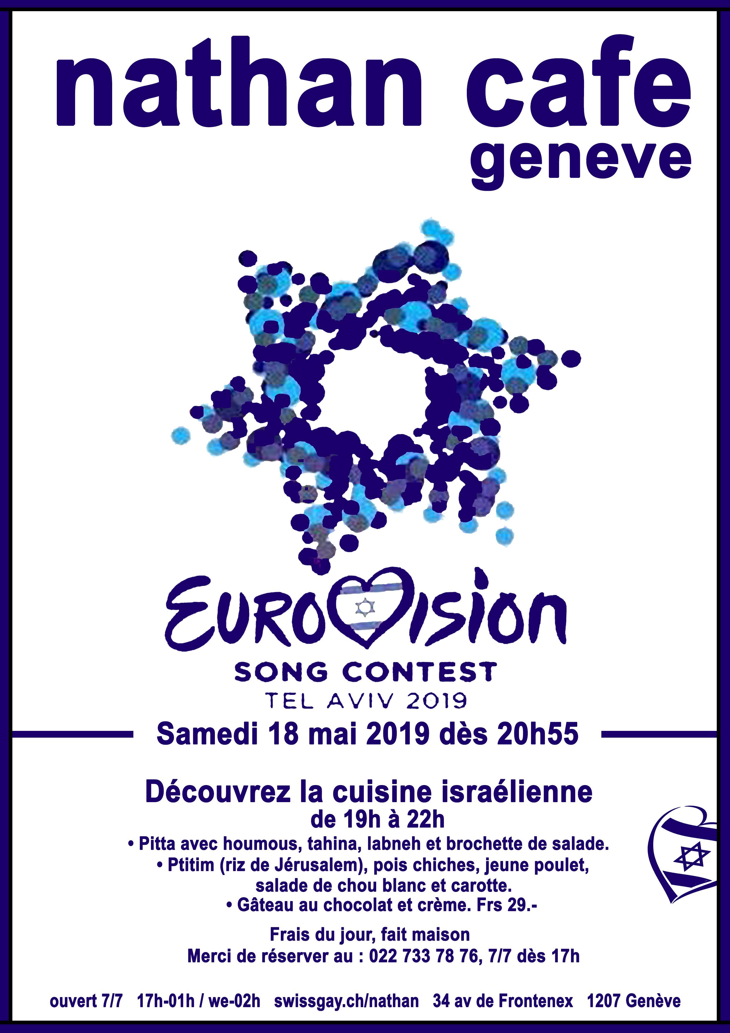 Nathan Café Genève - 18 mai 2019 : Eurovision 2019 et repas israélien