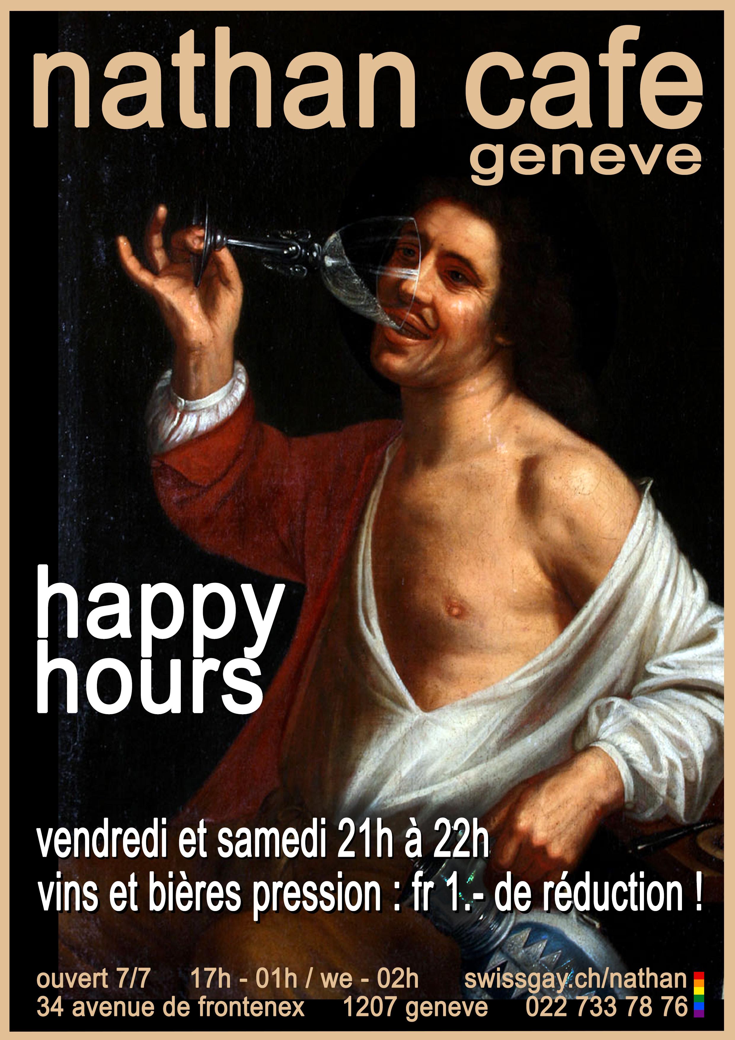 Nathan Café Genève - Happy hours : tous les vins et bières pression, fr 1.- de réduction !